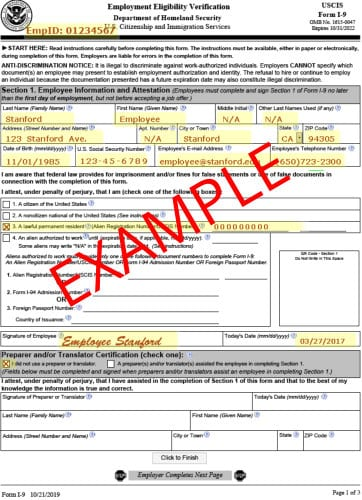 Employee I-9 Verification Form